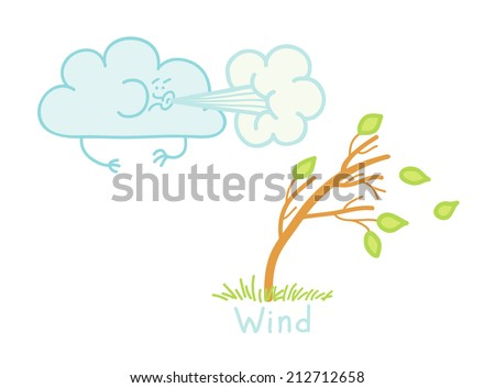 illustration of a strong wind - stock vector