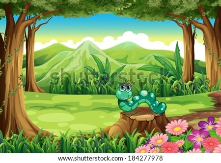 Illustration of a stump at the forest with a worm - stock vector