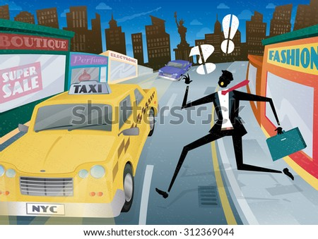 Illustration of a Suited but worried young Businessman who is waving and calling for the last Taxi home in the streets of New York City. - stock vector