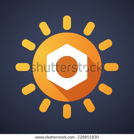 Illustration of a sun icon with a nut - stock vector