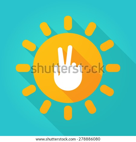 Illustration of a sun icon with a victory hand