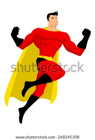 Illustration of a superhero in flying pose - stock vector