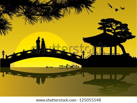 Illustration of a sweet couple on a bridge in Korean silhouette, vector