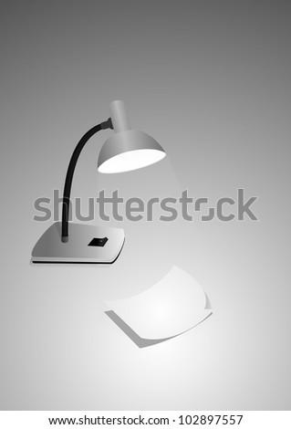 illustration of a table lamp and a sheet of paper isolated on gray background