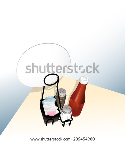 illustration of a table top in a restaurant with a condiment rack sitting on table holding a sign. - stock vector