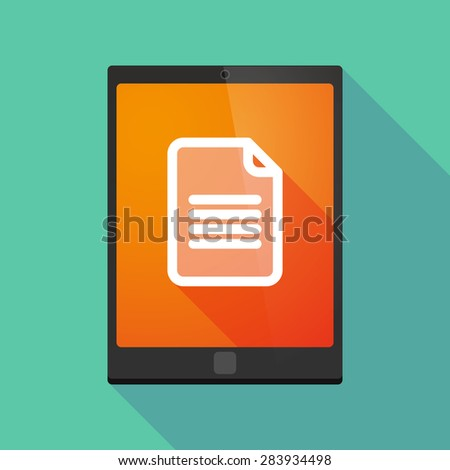 Illustration of a tablet pc icon wit a document - stock vector