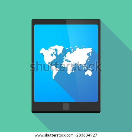 Illustration of a tablet pc icon wit a world map