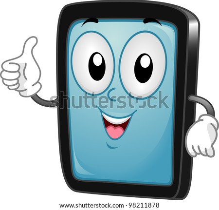 Illustration of a Tablet PC Mascot Giving a Thumbs Up - stock vector