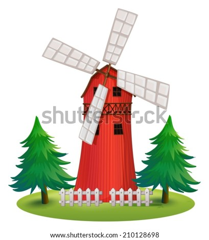 Illustration of a tall wooden building with a windmill on a white background - stock vector