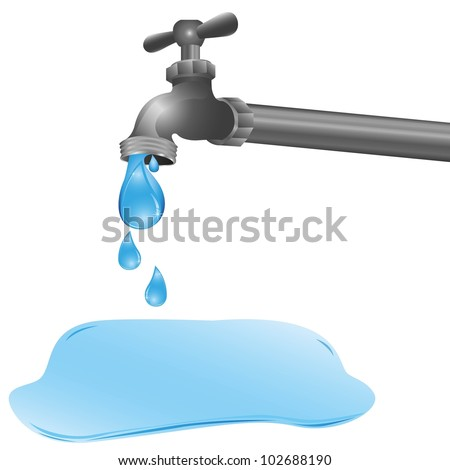 illustration of a tap dripping a puddle on the floor, vector illustration - stock vector