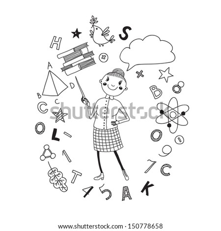 Illustration of a teacher in a cartoon style. Background symbolizing learning. Vector illustration. - stock vector