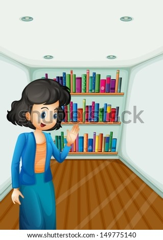 Illustration of a teacher presenting the books in the bookshelves - stock vector