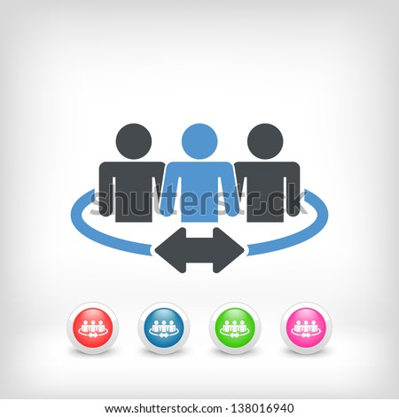 Illustration of a team of connected people - stock vector
