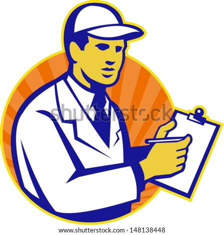 Illustration of a technician tradesman inspector worker at work writing on clipboard with pen set inside circle done in retro style.