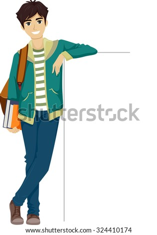Illustration of a Teenage Boy Leaning Against a Blank Board - stock vector