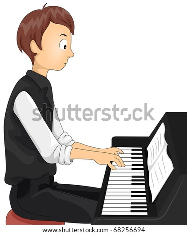 Illustration of a Teenage Boy Playing the Piano - stock vector