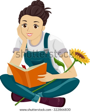 Illustration of a Teenage Girl Reading a Book - stock vector