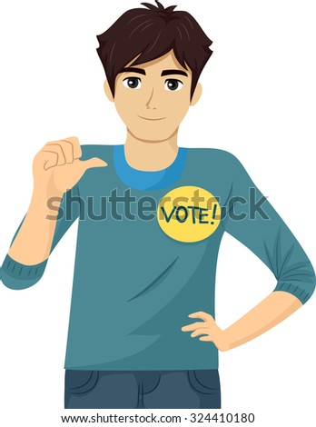Illustration of a Teenage Student Council Candidate Promoting Himself - stock vector