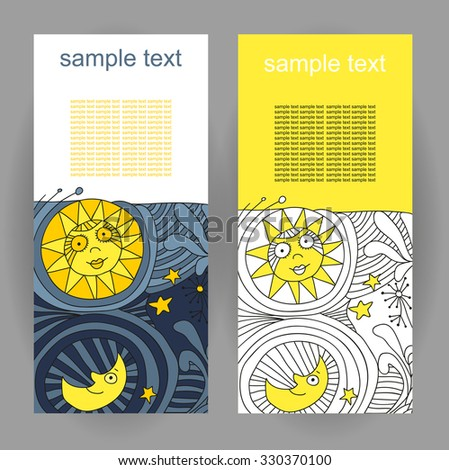 illustration of a template for the booklet with the image of the sun and moon