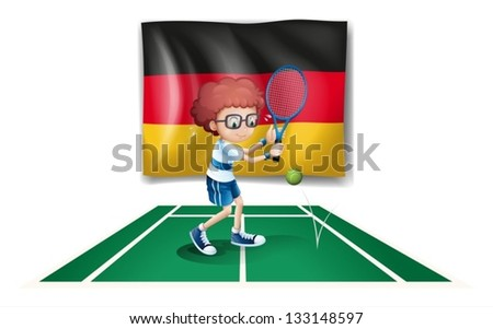 Illustration of a tennis player with the flag of Germany on a white background
