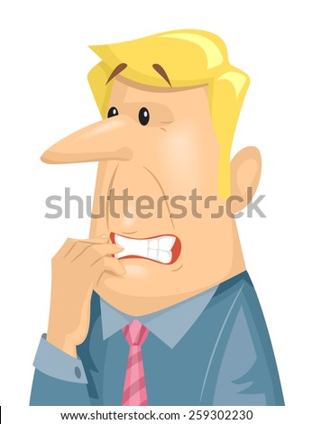 Illustration of a Terribly Anxious Man Chewing on His Fingernails - stock vector
