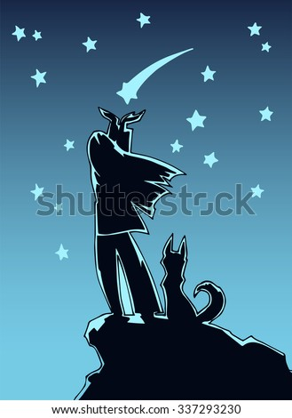 Illustration of a the girl trying to catch a star and dog sitting next to her