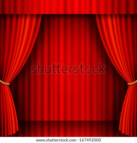 Illustration of a Theater stage with Red Velvet Curtains.