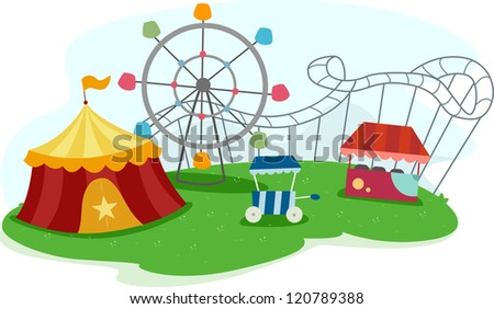 Illustration of a Theme Park with Rides - stock vector