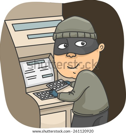 Illustration of a Thief Installing a Card Skimmer on an ATM  - stock vector