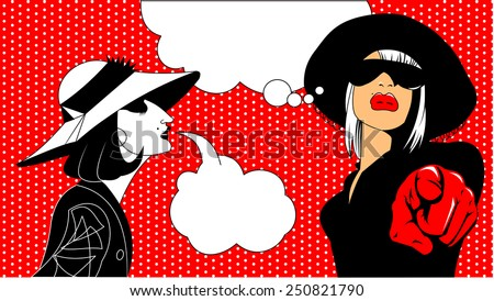Illustration of a thinking woman in a pop art/comic style - stock vector