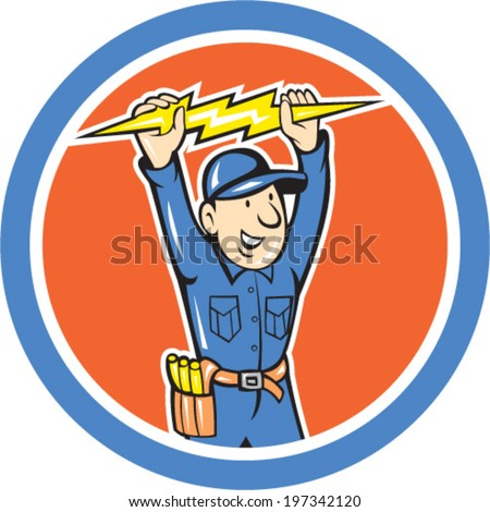 Illustration of a thunderbolt toolman electrician worker holding lightning bolt set inside circle done in cartoon style.  - stock vector