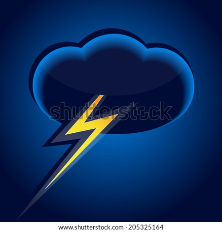 Illustration of a thunderstorm cloud with lightning - stock vector