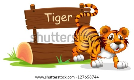 Illustration of a tiger in a jumping position