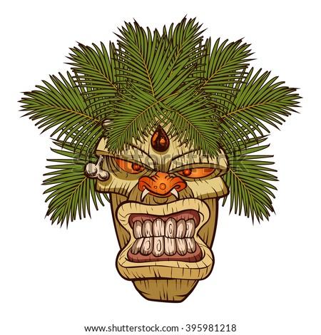 illustration of a tiki totem. - stock vector