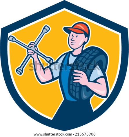 Illustration of a tireman mechanic holding tire wrench and tire on shoulder set inside shield crest on isolated background done in cartoon style.