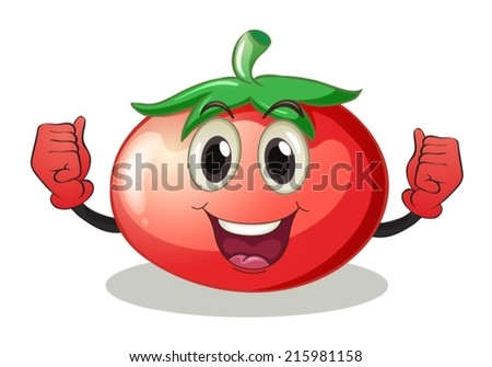 Illustration of a tomato with face