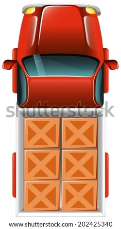 Illustration of a topview of a delivery truck with tiles on a white background - stock vector