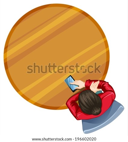 Illustration of a topview of a girl at the round table on a white background - stock vector