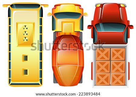 Illustration of a topview of the cars at the parking area on a white background  - stock vector