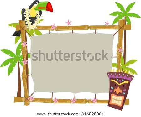 Illustration of a Toucan Perched on a Wooden Frame - stock vector