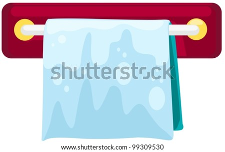 illustration of a towel on the  rack on white - stock vector