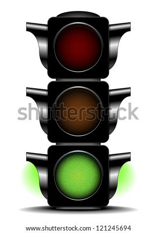 illustration of a traffic light with activated green light - stock vector