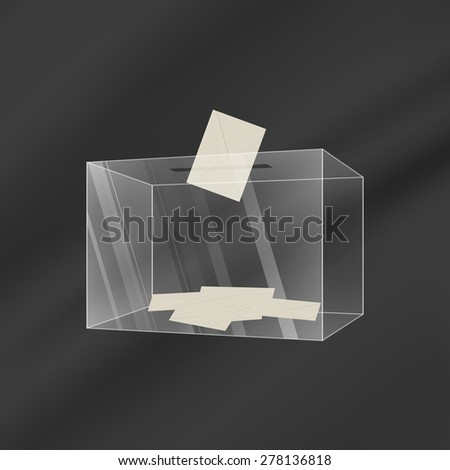 Illustration of a transparent glass ballot box with an envelope, gradient background - stock vector