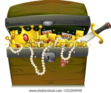 Illustration of a Treasure Chest Filled with Gold and Jewelry - stock vector