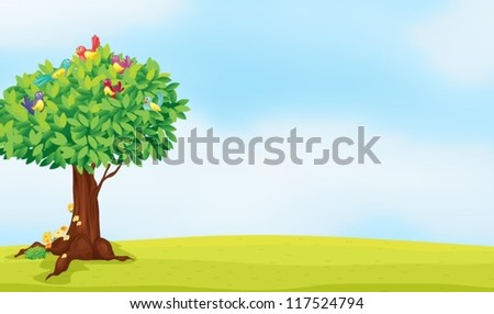 illustration of a tree and birds in a beautiful nature - stock vector