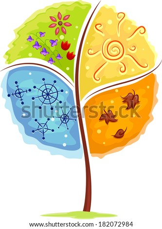 Illustration of a Tree Depicting the Four Seasons - stock vector