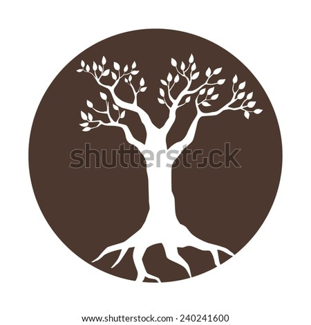 Illustration of a tree in a circle - stock vector