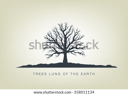 illustration of a tree in the garden. Icon of ecology in nature - stock vector