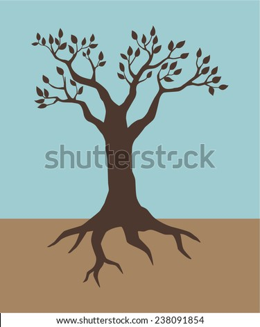 Illustration of a tree in vintage colour - stock vector