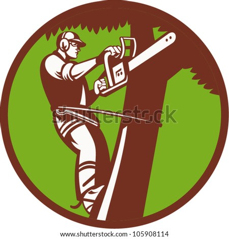 Tree Removal Logo Illustration of a Tree Surgeon